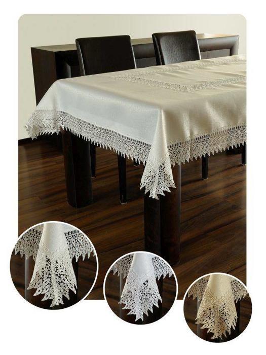 Obrus gipiura haft biały prostokąt 120-220